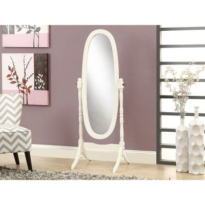 wood-framed standing oval mirror