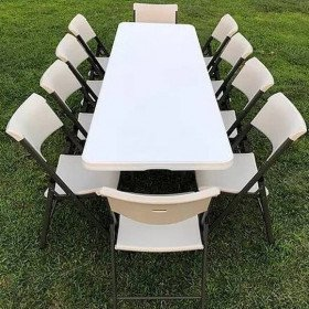 8 ft rectangular tables per set (1 table/8 chairs)