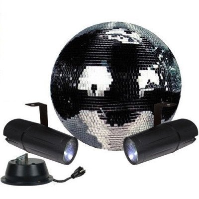 """12"""" Mirror Ball with 2 Pin Spots & Flyware - Disco Ball picture 1"""