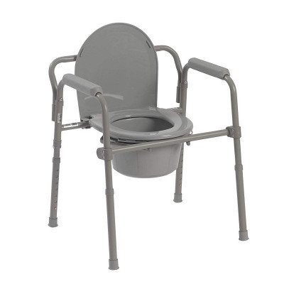 medical steel folding bedside commode picture 1