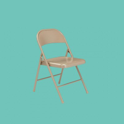 Beige Metal Folding Chair picture 1