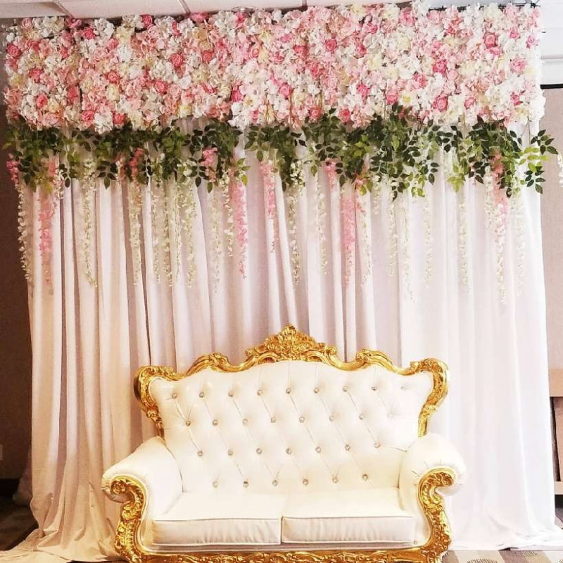 Floral backdrop with drapery - 8' h x 6' w