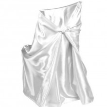 universal satin white chair covers