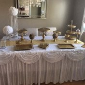 Gold and white dessert table