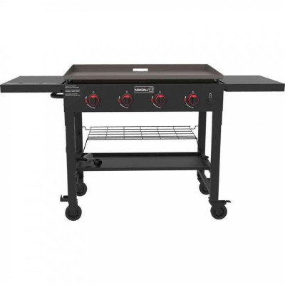 4-Burner Propane Gas Grill in Black with Griddle Top picture 1