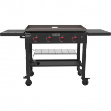 4-Burner Propane Gas Grill in Black with Griddle Top