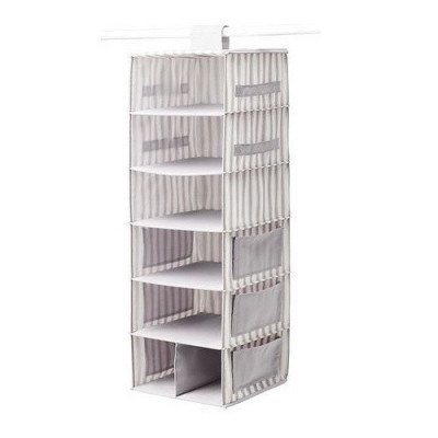 hanging storage with 7 compartments, grey-white stripe