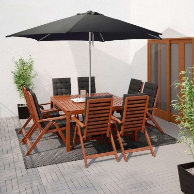 patio umbrella with base, black-1