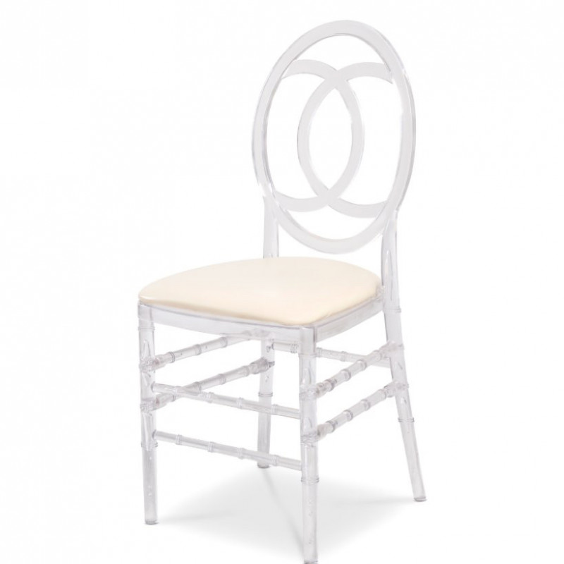 clear infinity chair - white leather cushion