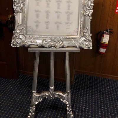 silver ornate frame with matching easel-1