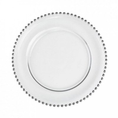 charger plates - clear glass with silver beads