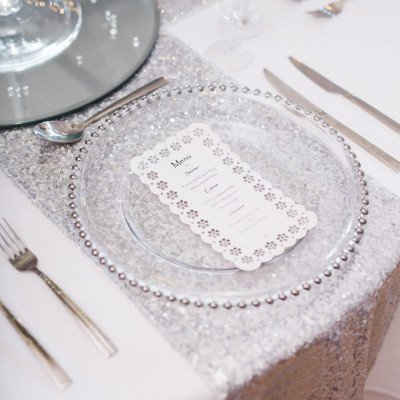 charger plates - clear glass with silver beads-1