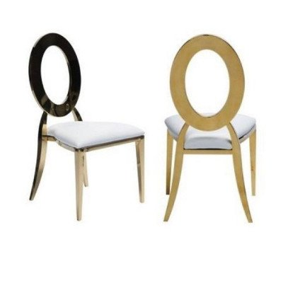 cartier round open back chairs - gold