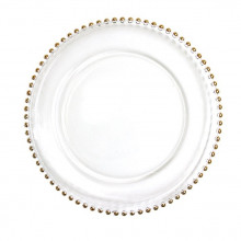 Charger plates - clear glass with gold beads