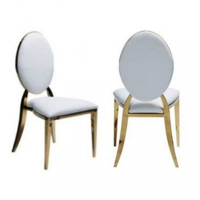 gold infinity chairs - white cushions