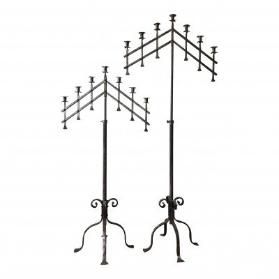 Pair of Silver 7-Taper Floor Candelabras picture 1