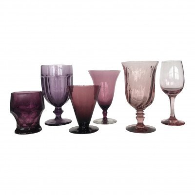 Amethyst and Aubergine Glass Drinkware picture 1