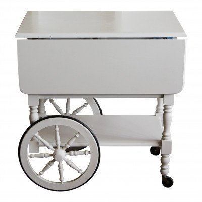 White Drop-Leaf Cart picture 1