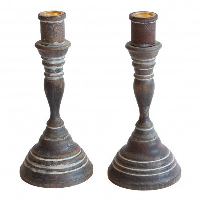 Pair of White-Washed Wood Candlesticks picture 1