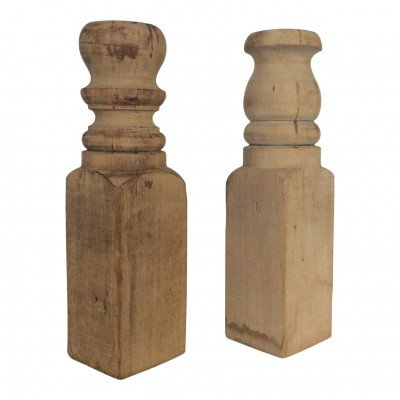 Pair of Wood Post Candlesticks picture 1