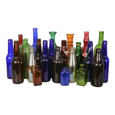 Set of 10 Colorful Glass Bottles - Assorted picture 1