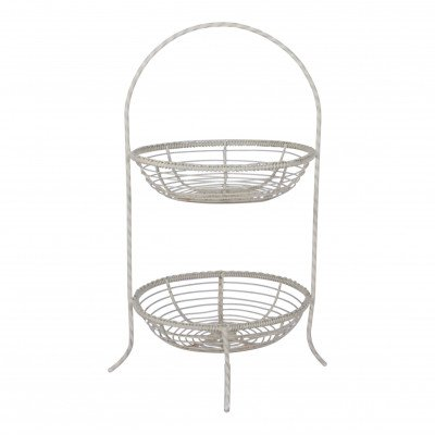 Ivory 2-Tiered Basket Stand picture 1