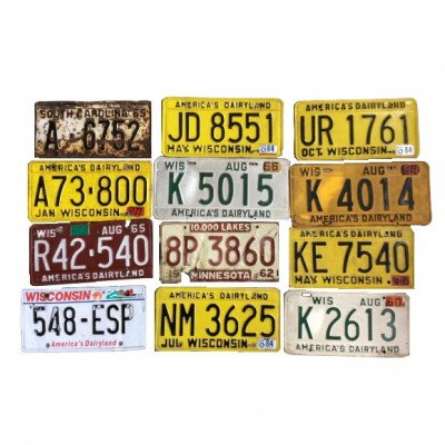 Set of 5 Vintage License Plates - Assorted picture 1