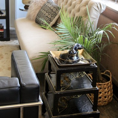 Set of 3 Black Stacking Side Tables picture 2