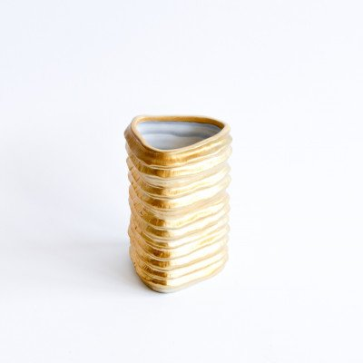 Gold Ribbed Triangle Vase picture 1