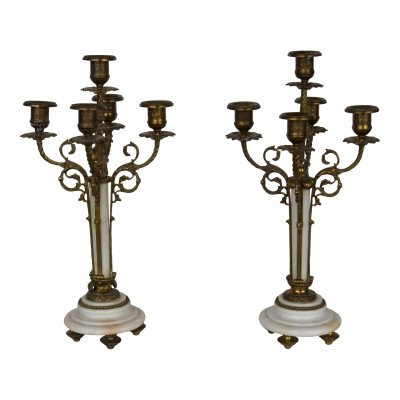 Pair of 5-Taper White Marble Candelabras picture 1