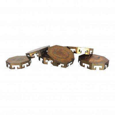 Set of 6 Brass Pillar Candle Plates picture 1