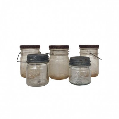 Set of 6 Clear Lidded Jars picture 1