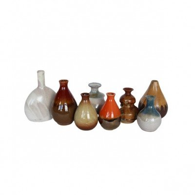 Set of 6 Pottery Bud Vases - Assorted picture 1
