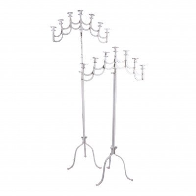 Pair of Chippy White 7-Taper Floor Candelabras picture 1