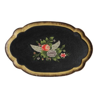 Black Floral Wood Tray picture 1