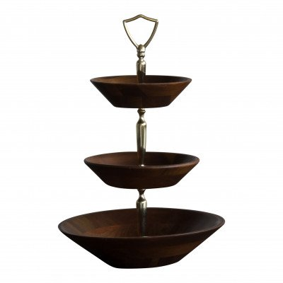 3-Tiered Wood Bowl Server picture 1