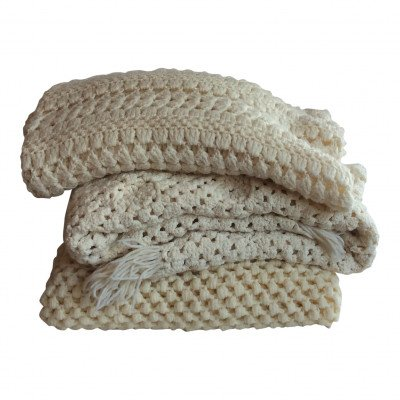 Pair of Ivory Afghans - Assorted picture 1
