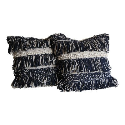 Pair of Navy and Cream Fringe Pillows picture 1