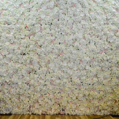 Ivory and Blush Pink Flower Wall Backdrop picture 1