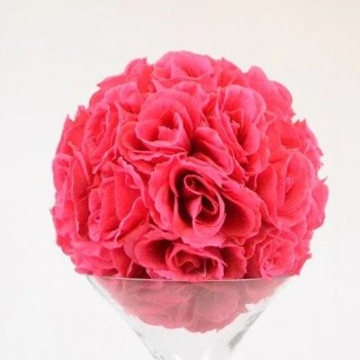 "Rose Ball on martini Vase 16"" - Fuchsia picture 1"