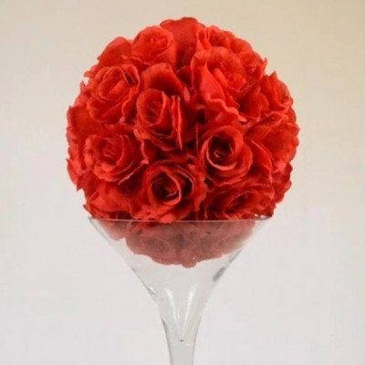 """Rose Ball on martini Vase 24"""" - Red picture 1"""