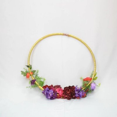 Floral Hoop - Gold with Ivory Florals picture 1