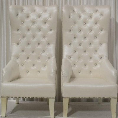 Ivory Tufted High Back Chairs Pair picture 1
