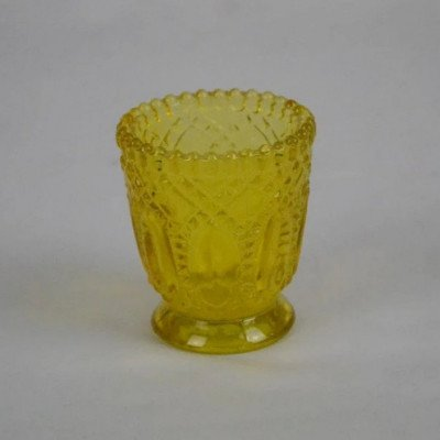 Candle Votive - Embossed Glass - Yellow picture 1