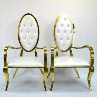 Oval Back Gold Frame Chairs Pair picture 1