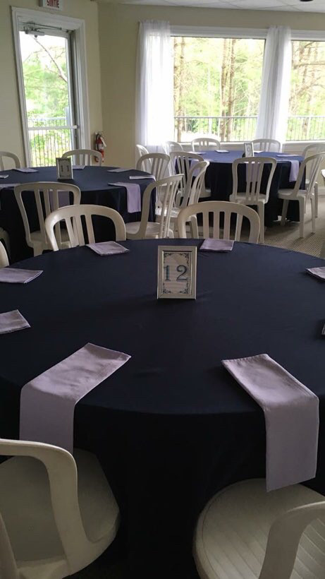 "120"" navy polyester tablecloth"