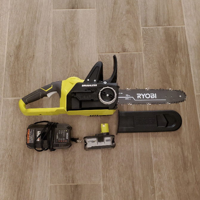 "Ryobi 12"" Brushless Battery Powered Chainsaw"