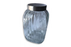 Ribbed Glass Jar