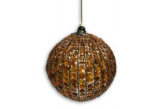 Hanging Orange Beaded Globe Light