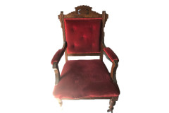 Burgundy Wood Throne Chair